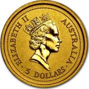 Australia 5 Dollars Australia Nugget - Two kangaroos 1996 KM# 272 ELIZABETH II AUSTRALIA 5 DOLLARS coin obverse