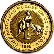 Australia 5 Dollars Australia Nugget - Two kangaroos 1996 KM# 272 THE AUSTRALIAN NUGGET 1/20 OZ. 9999 GOLD 1996 coin reverse