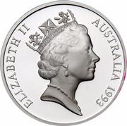 Australia 5 Dollars Australian Explorers - Abel Tasman 1993 KM# 214 ELIZABETH II AUSTRALIA 1993 RDM coin obverse