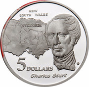 Australia 5 Dollars Australian Explorers - Charles Sturt 1994 KM# 265 NEW SOUTH WALES VICTORIA CHARLES STURT 5 DOLLARS WP G coin reverse
