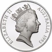Australia 5 Dollars Australian Explorers - James Cook 1993 KM# 215 ELIZABETH II AUSTRALIA 1993 RDM coin obverse