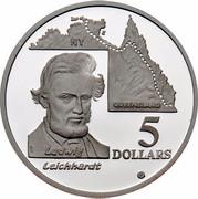 Australia 5 Dollars Australian Explorers - Ludwing Leichhardt 1994 KM# 264 LUDWIG LEICHHARDT 5 DOLLARS NT QUEENSLAND WP G coin reverse