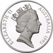 Australia 5 Dollars Australian Explorers - Matthew Flinders 1993 KM# 216 ELIZABETH II AUSTRALIA 1993 RDM coin obverse