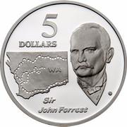 Australia 5 Dollars Australian Explorers - Sir John Forrest 1994 KM# 266 5 DOLLARS WA SIR JOHN FORREST WP G coin reverse