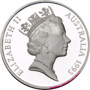 Australia 5 Dollars Australian Explorers - W.Lawson - G.Blaxland - W.C.Wentworth 1993 KM# 217 ELIZABETH II AUSTRALIA 1993 RDM coin obverse