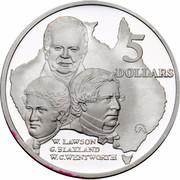 Australia 5 Dollars Australian Explorers - W.Lawson - G.Blaxland - W.C.Wentworth 1993 KM# 217 5 DOLLARS W.LAWSON G.BLAXLAND W.C.WENTWORTH G coin reverse