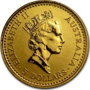 Australia 5 Dollars Australian Nugget - Common Wallaroo 1992 KM# 165 ELIZABETH II AUSTRALIA 5 DOLLARS coin obverse