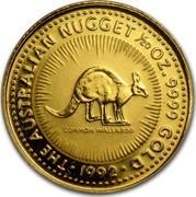 Australia 5 Dollars Australian Nugget - Common Wallaroo 1992 KM# 165 THE AUSTRALIAN NUGGET 1/20 OZ 9999 GOLD 1992 coin reverse