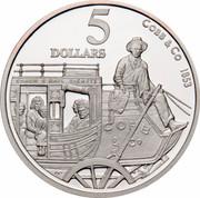 Australia 5 Dollars Colonial Australia - Cobb and Co 1995 KM# 304 COBB & CO 1853 COACH & RAIL TICKETS COBB & CO MAIL 5 DOLLARS WP coin reverse