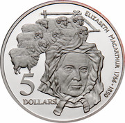 Australia 5 Dollars Colonial Australia - Elizabeth MacArthur 1995 KM# 305 ELIZABETH MACARTHUR 1766-1850 5 DOLLARS WP coin reverse