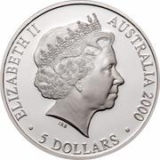 Australia 5 Dollars Harbour Bridge 2000 KM# 515 ELIZABETH II AUSTRALIA 2000 5 DOLLARS IRB coin obverse