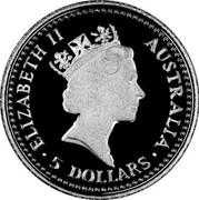 Australia 5 Dollars Koala 1992 KM# 170 ELIZABETH II AUSTRALIA 5 DOLLARS coin obverse