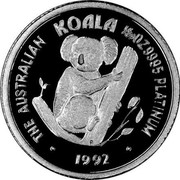 Australia 5 Dollars Koala 1992 KM# 170 THE AUSTRALIAN KOALA 1/20OZ 9995 PLATINUM 1992 coin reverse
