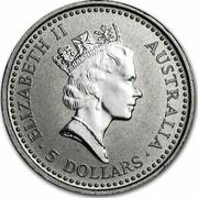 Australia 5 Dollars Koala 1994 KM# 249 ELIZABETH II AUSTRALIA 5 DOLLARS coin obverse