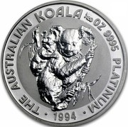 Australia 5 Dollars Koala 1994 KM# 249 THE AUSTRALIAN KOALA 1/20OZ 9995 PLATINUM 1994 coin reverse
