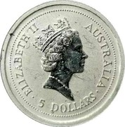 Australia 5 Dollars Koala 1997 KM# 344 ELIZABETH II AUSTRALIA • 5 DOLLARS • coin obverse