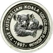 Australia 5 Dollars Koala 1997 KM# 344 THE AUSTRALIAN KOALA 1/20 OZ 9995 PLATINUM • 1997 • coin reverse