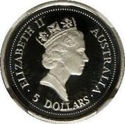 Australia 5 Dollars Koala 1998 KM# 456 ELIZABETH II AUSTRALIA 5 DOLLARS coin obverse