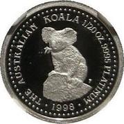 Australia 5 Dollars Koala 1998 KM# 456 THE AUSTRALIAN KOALA 1/20 OZ .9995 PLATINUM 1998 coin reverse