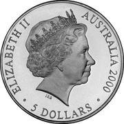 Australia 5 Dollars Koala 2000 KM# 439 ELIZABETH II AUSTRALIA 2000 5 DOLLARS IRB coin obverse