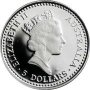 Australia 5 Dollars (Koala) KM# 145 ELIZABETH II AUSTRALIA 5 DOLLARS coin obverse
