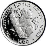 Australia 5 Dollars (Koala) KM# 145 THE AUSTRALIAN KOALA 1/20OZ 9995 PLATINUM *DATE* coin reverse