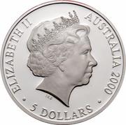 Australia 5 Dollars Kookaburra 2000 KM# 516 ELIZABETH II AUSTRALIA 2000 5 DOLLARS IRB coin obverse