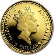 Australia 5 Dollars Nail-tailed Wallaby 1992(ae) Proof KM# 389 ELIZABETH II AUSTRALIA 5 DOLLARS coin obverse