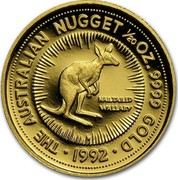 Australia 5 Dollars Nail-tailed Wallaby 1992(ae) Proof KM# 389 THE AUSTRALIAN NUGGET 1/20 OZ. 9999 GOLD DATE coin reverse