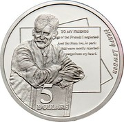 Australia 5 Dollars National Identity - Henry Lawson 1996 KM# 332 HENRY LAWSON TO MY FRIENDS ... 5 DOLLARS coin reverse