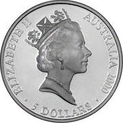 Australia 5 Dollars Olympic Australian Map 2000 KM# 371 ELIZABETH II AUSTRALIA 2000 5 DOLLARS RDM coin obverse