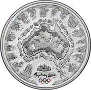 Australia 5 Dollars Olympic Australian Map 2000 KM# 371 SYDNEY 2000 ™© C coin reverse