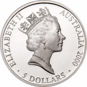 Australia 5 Dollars Olympic Sharks 2000 KM# 372 ELIZABETH II AUSTRALIA 2000 5 DOLLARS RDM coin obverse