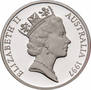 Australia 5 Dollars Opening of a Continent 1997 KM# 546 ELIZABETH II AUSTRALIA 1997 RDM coin obverse