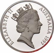 Australia 5 Dollars Opening of a Continent 1997 KM# 545 ELIZABETH II AUSTRALIA 1997 RDM coin obverse