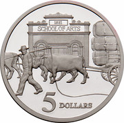 Australia 5 Dollars Opening of a Continent 1997 KM# 547 1881 SCHOOL OF ARTS 5 DOLLARS WP coin reverse