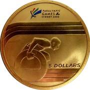 Australia 5 Dollars Paralympic Wheelchair Athlete 2000 KM# 517 5 DOLLARS WP coin reverse