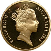 Australia 5 Dollars Parliament House 1988 KM# 102 ELIZABETH II AUSTRALIA 1988 RDM coin obverse