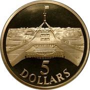 Australia 5 Dollars Parliament House 1988 KM# 102 5 DOLLARS SD coin reverse