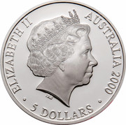 Australia 5 Dollars Platypus 2000 KM# 816 ELIZABETH II AUSTRALIA 2000 5 DOLLARS IRB coin obverse