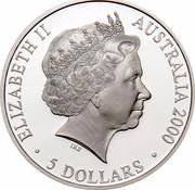 Australia 5 Dollars Reaching The World 2000 KM# 440 ELIZABETH II AUSTRALIA 2000 5 DOLLARS IRB coin obverse
