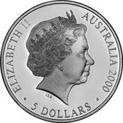 Australia 5 Dollars Reaching the World 2000 KM# 441 ELIZABETH II AUSTRALIA 2000 5 DOLLARS IRB coin obverse