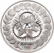 Australia 5 Dollars Reaching The World 2000 KM# 440 SYDNEY 2000 ™© C coin reverse