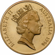 Australia 5 Dollars Sir Donald Bradman 1996 KM# 312 ELIZABETH II AUSTRALIA 1996 RDM coin obverse