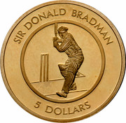 Australia 5 Dollars Sir Donald Bradman 1996 KM# 312 SIR DONALD BRADMAN 5 DOLLARS coin reverse