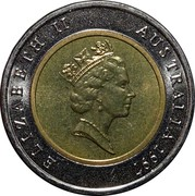 Australia 5 Dollars Sir Donald Bradman Tribute 1997 KM# 311 ELIZABETH II AUSTRALIA 1996 RDM coin obverse
