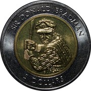 Australia 5 Dollars Sir Donald Bradman Tribute 1997 KM# 311 SIR DONALD BRADMAN 5 DOLLARS G coin reverse