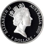 Australia 5 Dollars Sydney Olympics 2000 KM# 381 ELIZABETH II AUSTRALIA 2000 5 DOLLARS RDM coin obverse