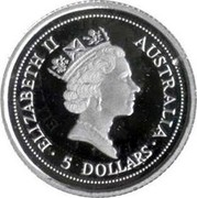 Australia 5 Dollars The Australian Koala 1994 KM# 278 ELIZABETH II AUSTRALIA 5 DOLLARS RDM coin obverse