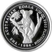 Australia 5 Dollars The Australian Koala 1994 KM# 278 THE AUSTRALIAN KOALA 1/20 OZ. 9995 PLATINUM 1994 P coin reverse